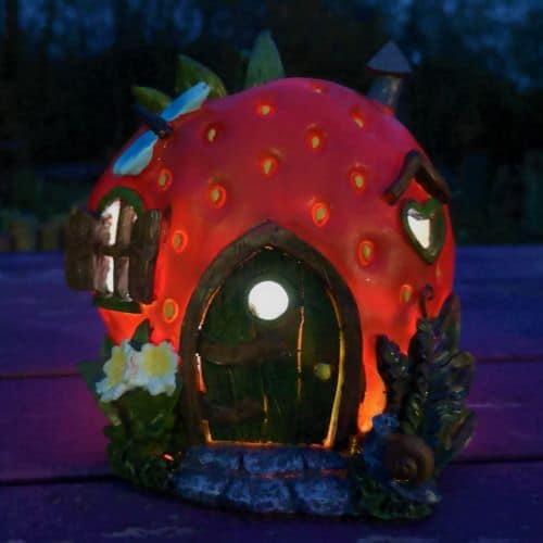 solar fairy houses strawberry