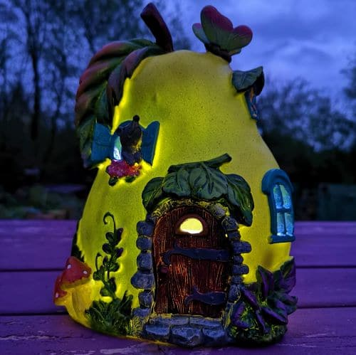 solar pear fairy houses at night