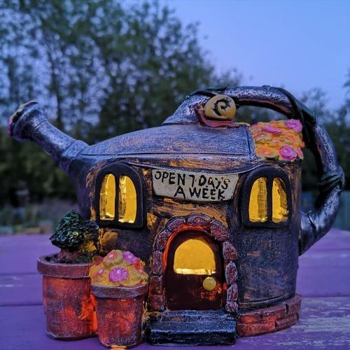 solar powered fairy garden homes