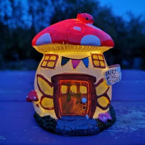 solar fairy garden toadstool home