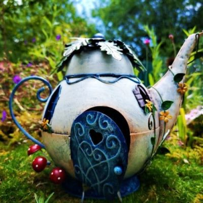 metal teapot fairy house