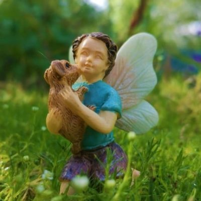 boy fairy figure with puppy dog