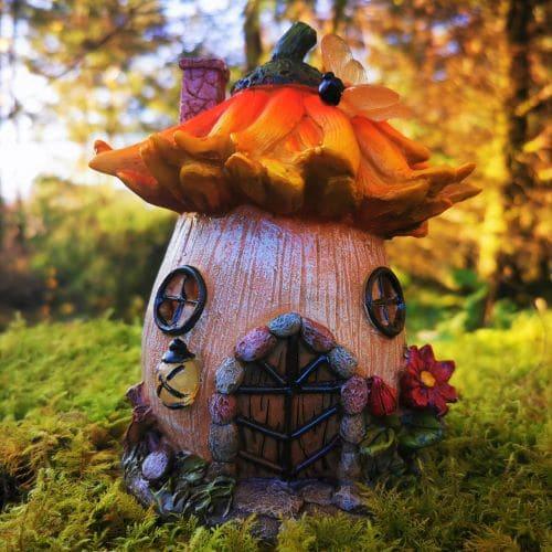 solar sunflower fairy house
