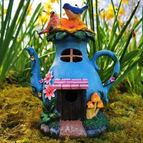 solar blue teapot fairy house