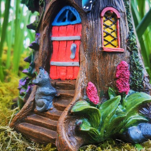 fairy house door with squirrel
