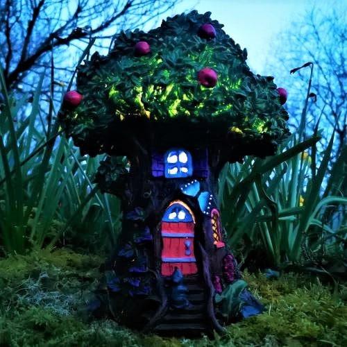 solar fairy house night