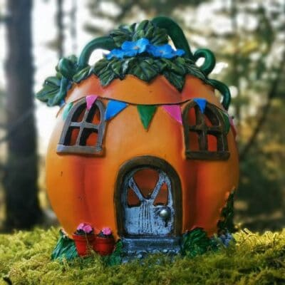 pumpkin solar fairy house