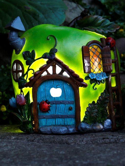 solar powered apple fairy garden house