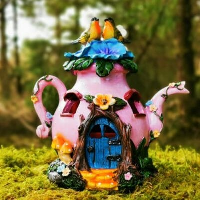 pink teapot fairy house