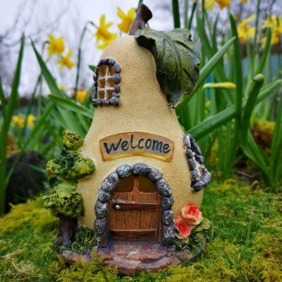 solar fairy garden pear house