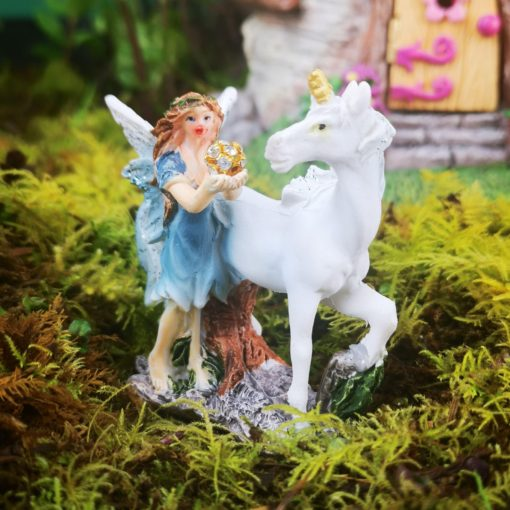 blue fairy unicorn figure ornament