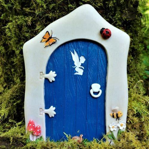 large blue fairy door