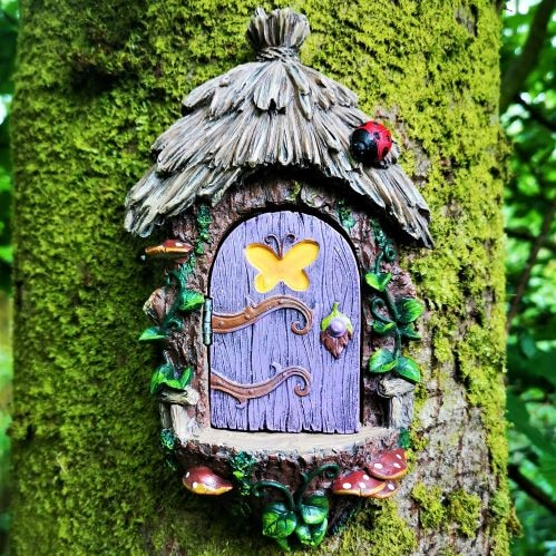 purple fairy door tree