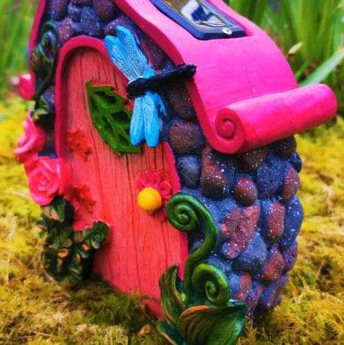 pink solar fairy door