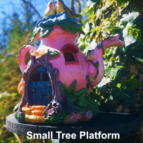 small tree platform with fairy house