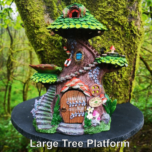 large platform with fairy house