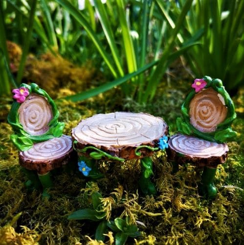 fairy garden table and chair set