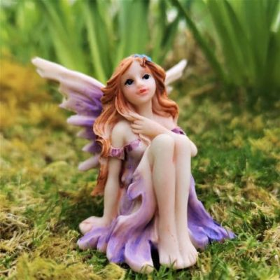 violet fairy garden ornament