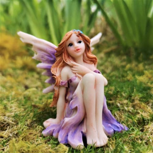 violet fairy garden ornament