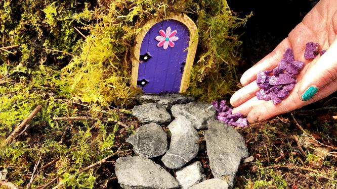 making pathway around tree for fairy door