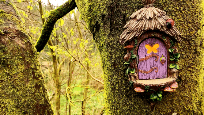 a fairy landing pad attached to the tree