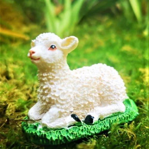 lamb figurine ornament fairy garden