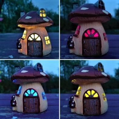 mushroom fairy house night light