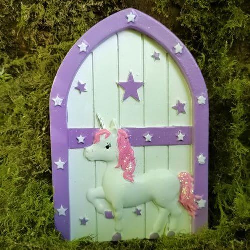 purple arched unicorn fairy door