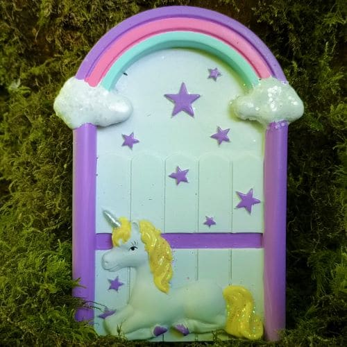purple unicorn fairy door