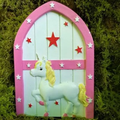 pink unicorn fairy door