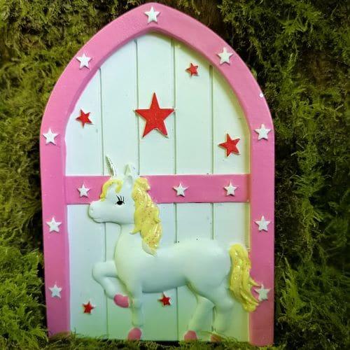 pink unicorn fairy door