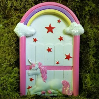 pink unicorn irish fairy door