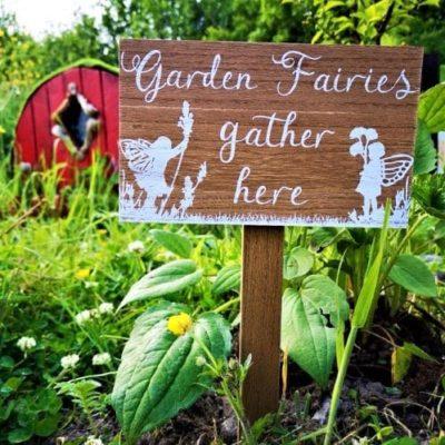 garden fairy wooden sign