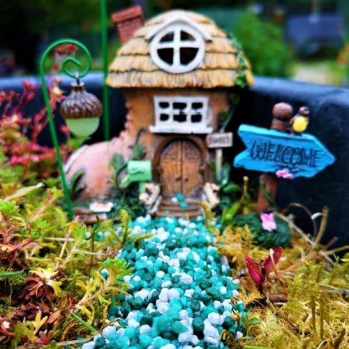 green coloured fairy garden gravel
