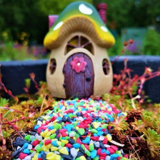 rainbow coloured fairy gravel