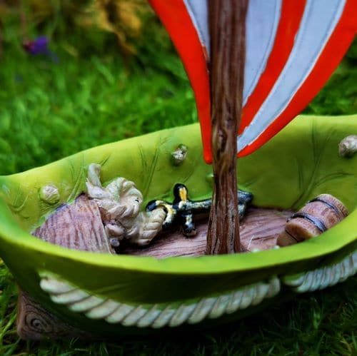 interior of miniature garden boat