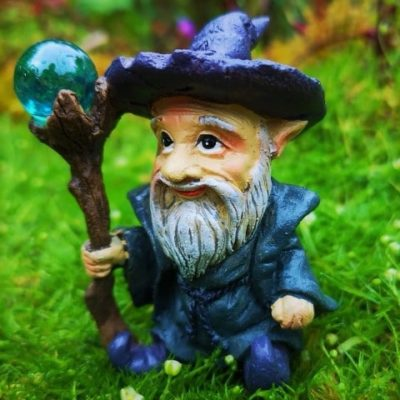 purple miniature garden wizard