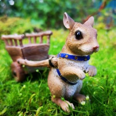mouse and cart fairy garden ornament
