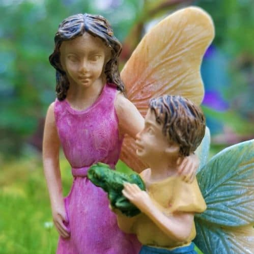 boy fairy with frog miniature