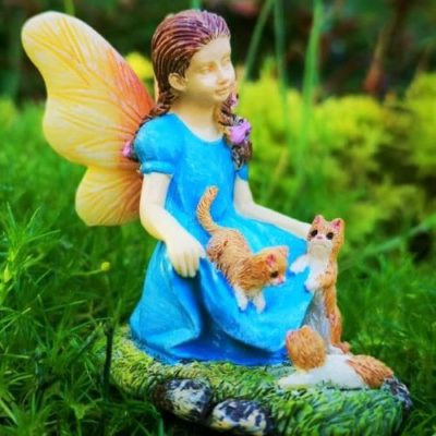 Fairy and cat ornament