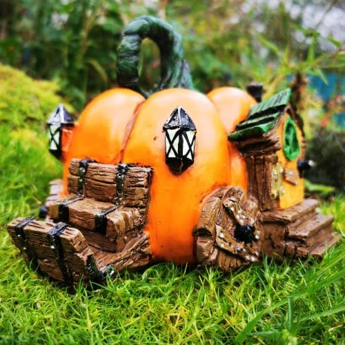 pumpkin carraige fairy house