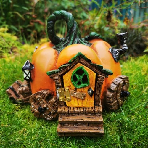 halloween pumpkin fairy house