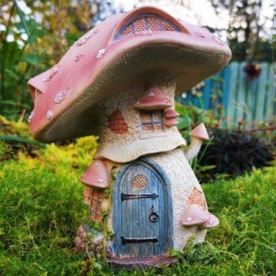 pink mushroom fairy house