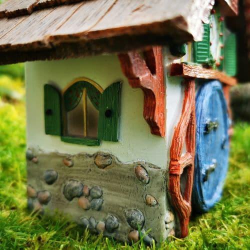 clock fairy garden house