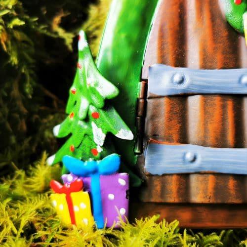 fairy door with christmas tree