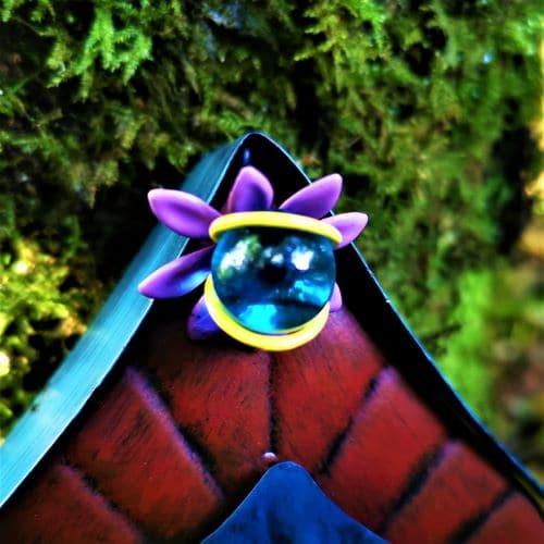 fairy gazing ball on a door