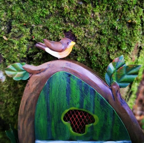 perched robin fairy door