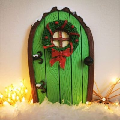 green christmas fairy door