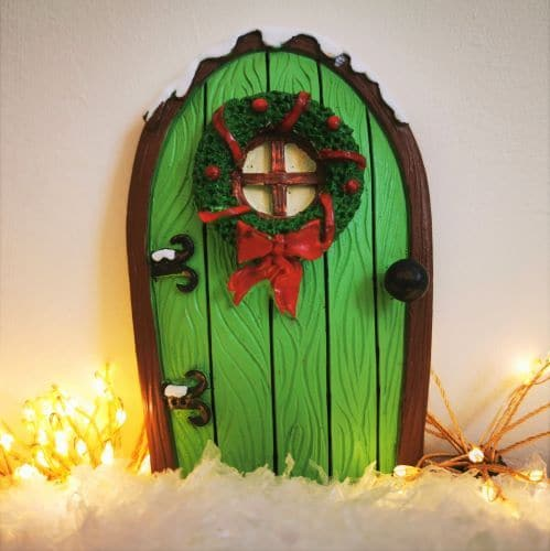 green christmas fairy door
