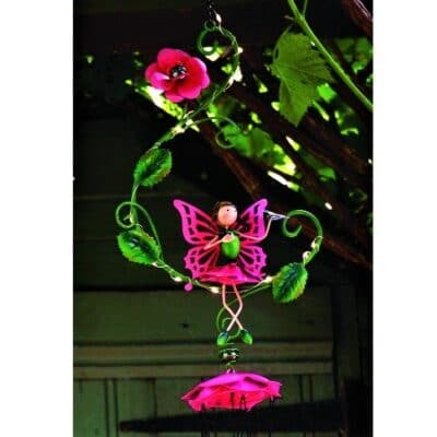 pink fairy solar wind chimes
